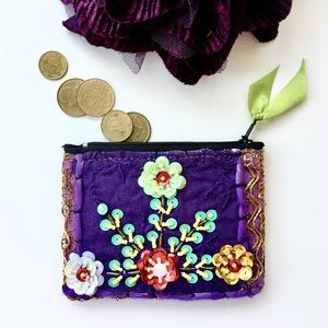 Ornate Floral Beaded Purple Fabric Coin Pouch